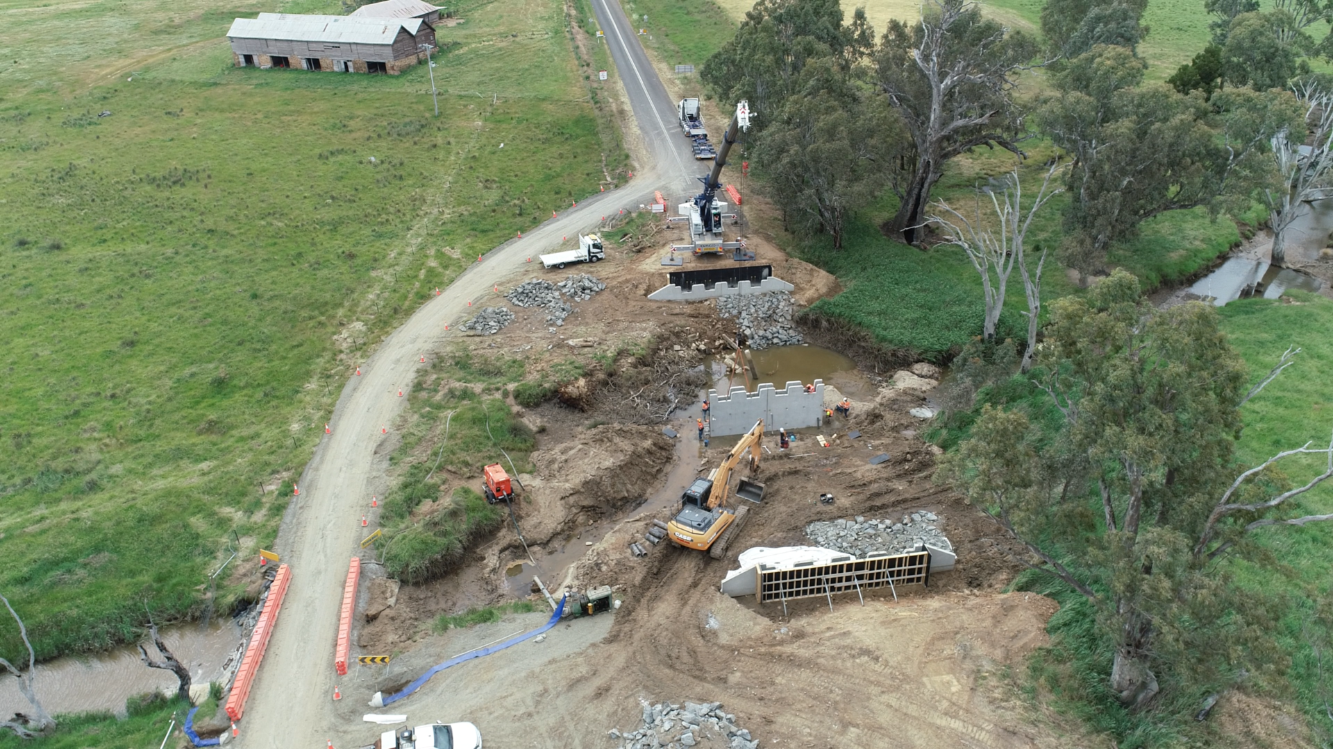 An aerial photograph of work progressing on one of the bridges.