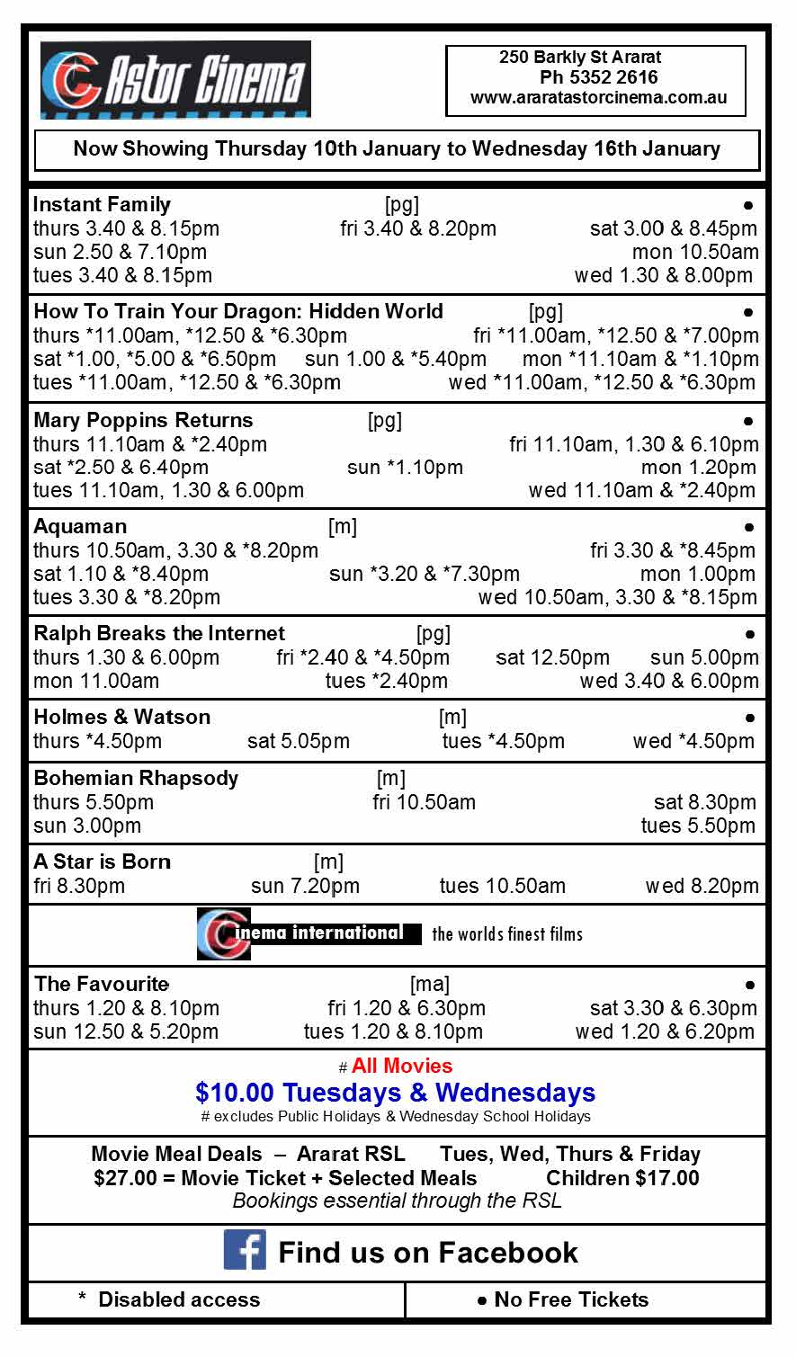 Astor Cinema screening times - 10-16 January